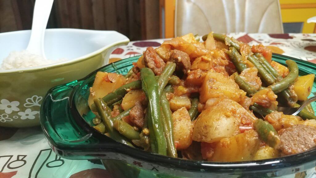 Green Beans and Potatoes Albanian Style with Seitan